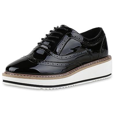 1c79a1f89cb Ladies Platform Shoes Lace Up Brogues Metallic Patent Leather Look Black  Plateau Size 7 UK - 40 EU  Amazon.co.uk  Shoes   Bags