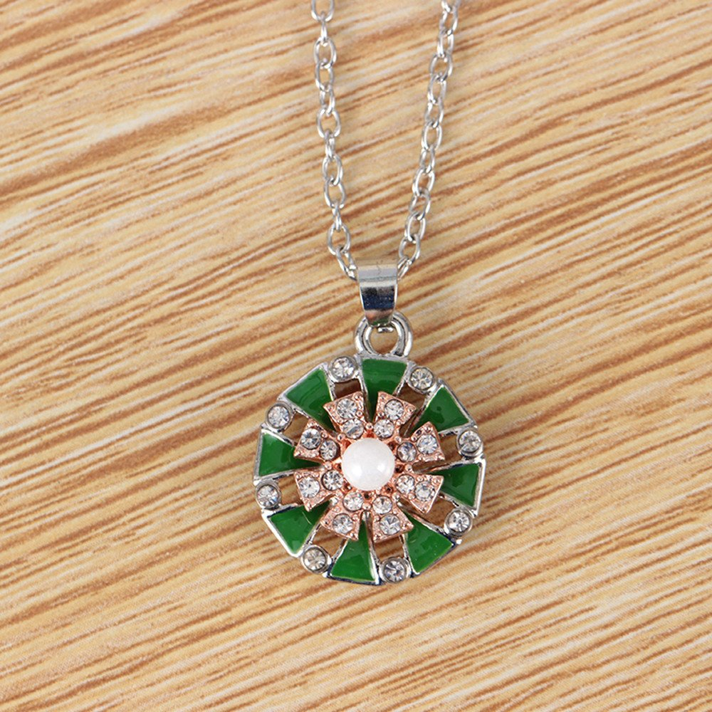 Fashion Drop Oil Chain Flowers Studded with Rotary Necklaces Necklaces Jewelry for Women Girls Mom Bridesmaid Gift Personalized Long Chain Pendant Necklace