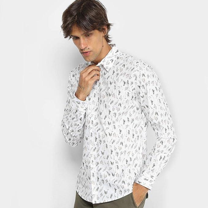 44482e42f Camisa Colcci Manga Longa Estampa Folhagem Slim Masculina - Branco+marrom -  M