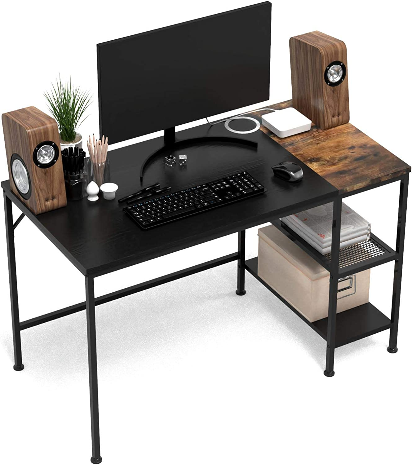 HOMIDEC Writing Computer Desk with Storage Shelves, Office Work Desk for Small Spaces, Writing Study, Industry Modern Table for Bedroom, Home, Office(39.7x23.6x29.5 inch)