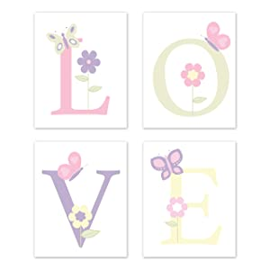 Sweet Jojo Designs Butterfly Wall Art Prints Room Decor for Baby, Nursery, and Kids - Set of 4 - Pink and Purple Floral Flower Garden Love