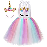 Sequin Unicorn Dress for Girls 1-10Y with Headband Birthday Easter Tea Party Gifts Spring Dance Dresses