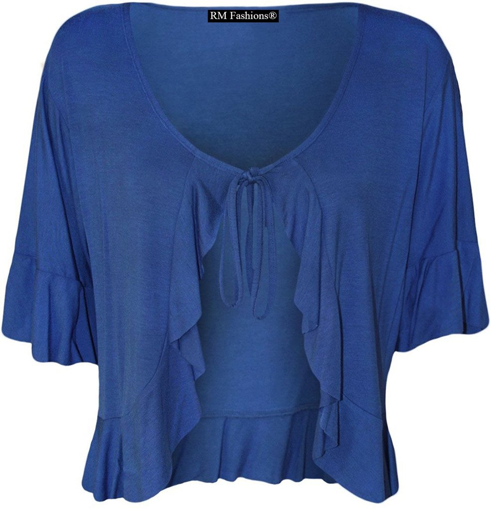 Rimi Hanger Women's Plus Size Frill Tie Bolero Shrug Cardigan - Royal Blue - US 22-24 (UK 26-28)
