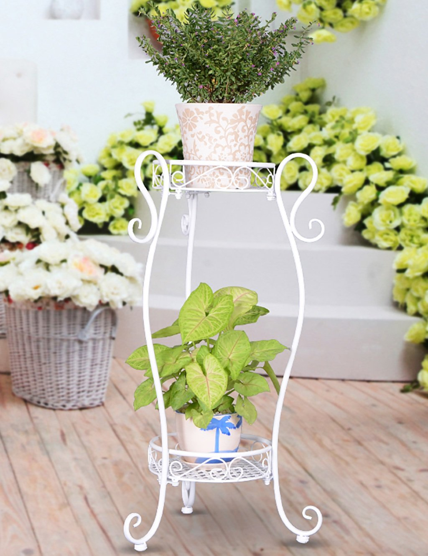LB huajia ZHANWEI Eisen-Blumen-Rack-Zwei-Schicht-Blumen-Rack-Balkon Wohnzimmer Indoor Blumentopf Blumen Rack (3 Farben Sind Vorhanden) (Farbe : B)