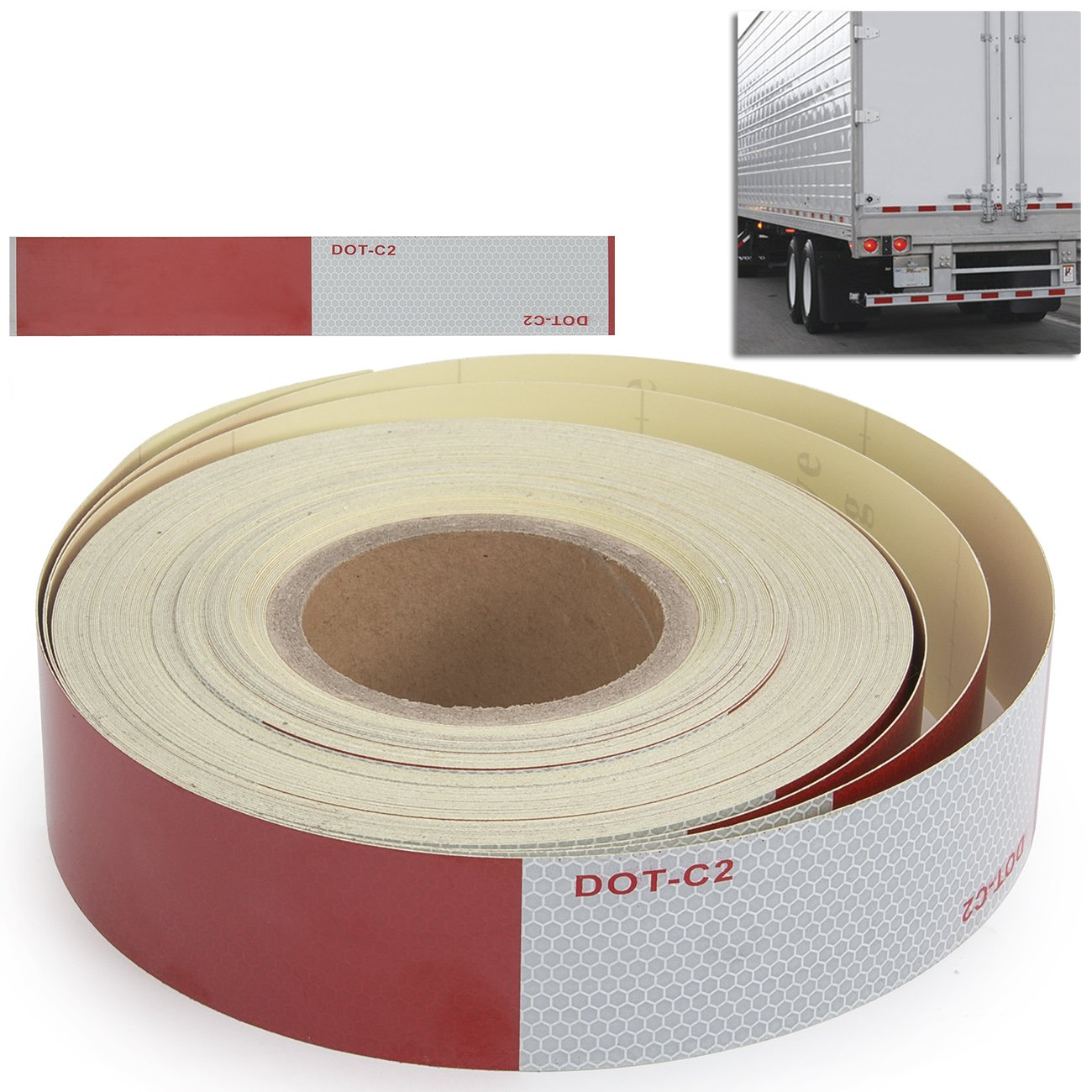 Amazon ARKSEN 2 X 150 DOT Class Reflective Tape Safety Red White Adhesive Set Truck RV Outdoor Home Improvement