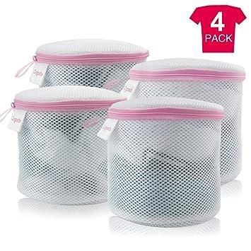 GOGOODA - Bolsas de Lavadora, White & Pink, 4Pcs Bra Laundry Bags