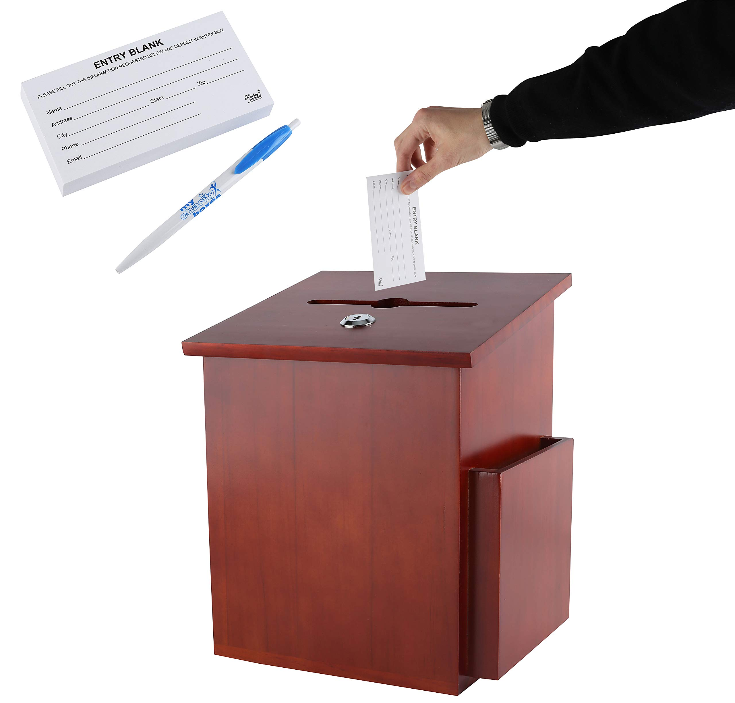 Rich Mahogany Wood Charity Donation & Suggestion Box Office Ballot Box with Pocket Comes with Locking Hinged Lid for Table Or Counter-top use (Dark Mahogany) by My Charity Boxes