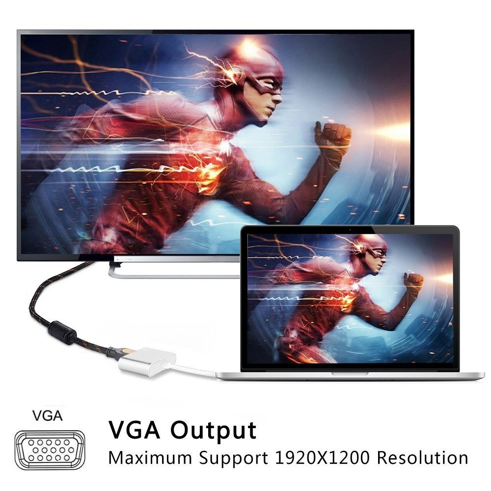 USB C to HDMI VGA Adapter, Monodeal 2 in 1 USB 3.1 Type C to VGA HDMI 4K UHD Adapter, Support HDMI VGA Simultaneously, External Video Card Multi-display Video Converter, NO NEED DRIVER