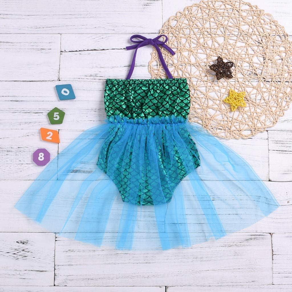 Rolayllove Toddler Baby Girls Bikini Fish Scale Beach Bow-Knot Suspender Romper Swimsuit Dress