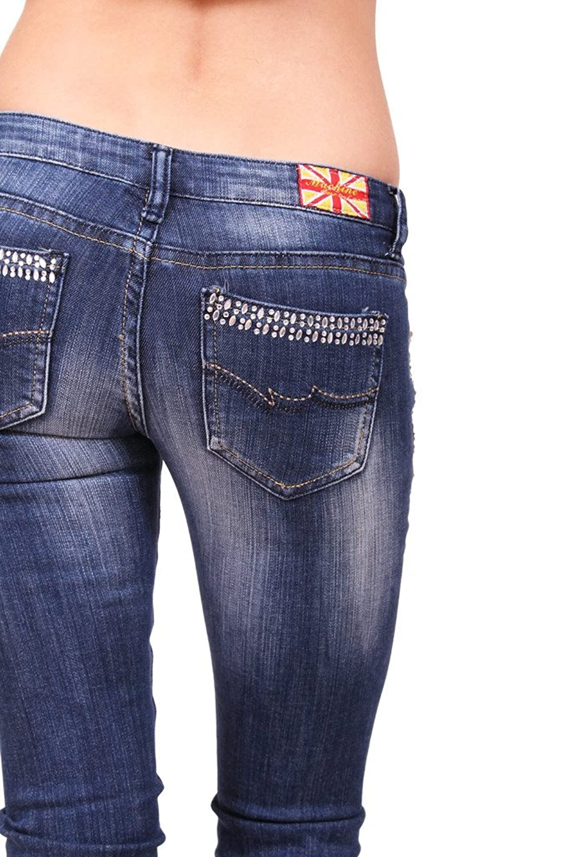 Machine Jeans Women Distressed Skinny Jeans with Rhinestones