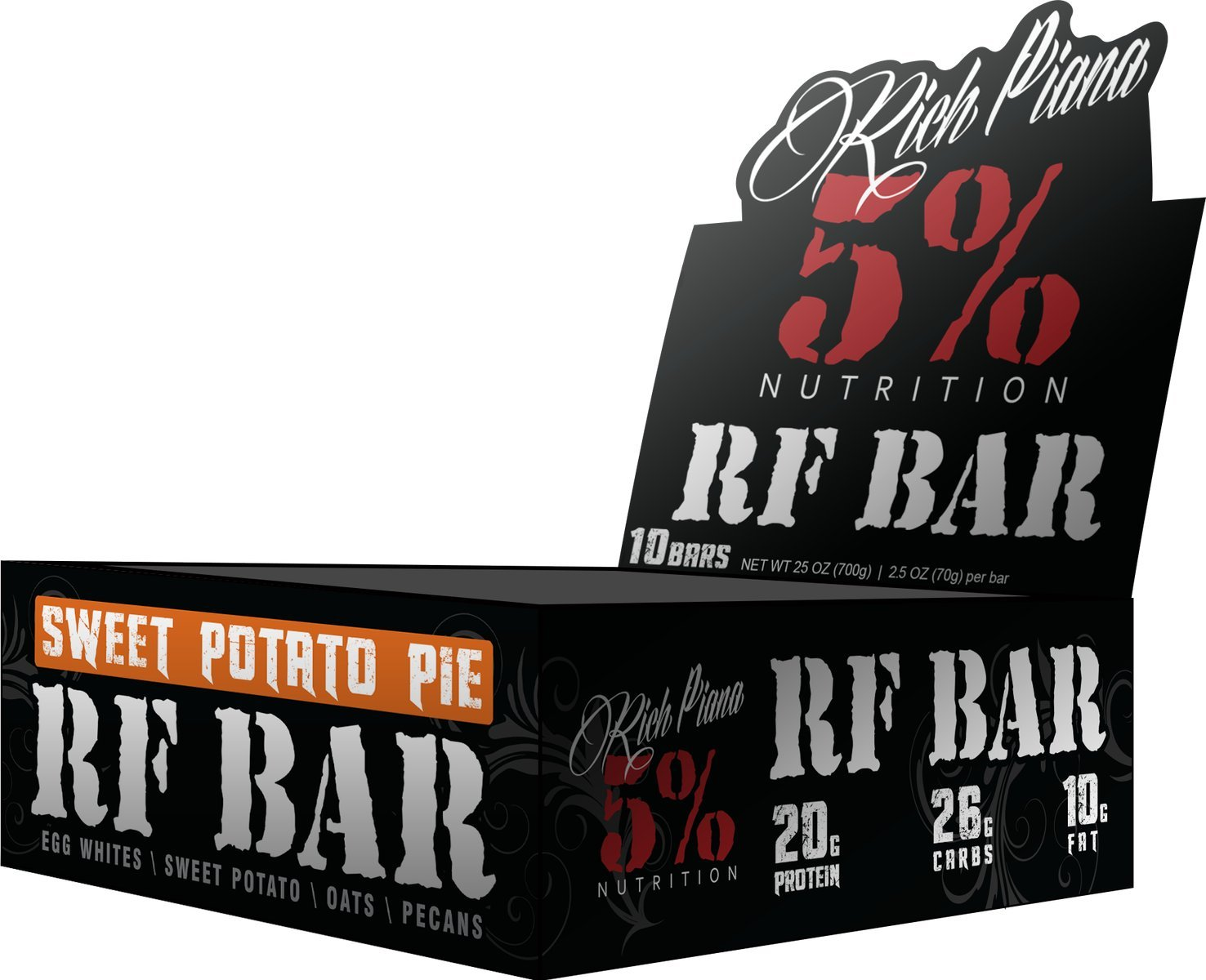 Rich Piana 5% Nutrition, RF Bar Sweet Potato Pie Flavor (10 Count), 20g Protein 70g Serving Size