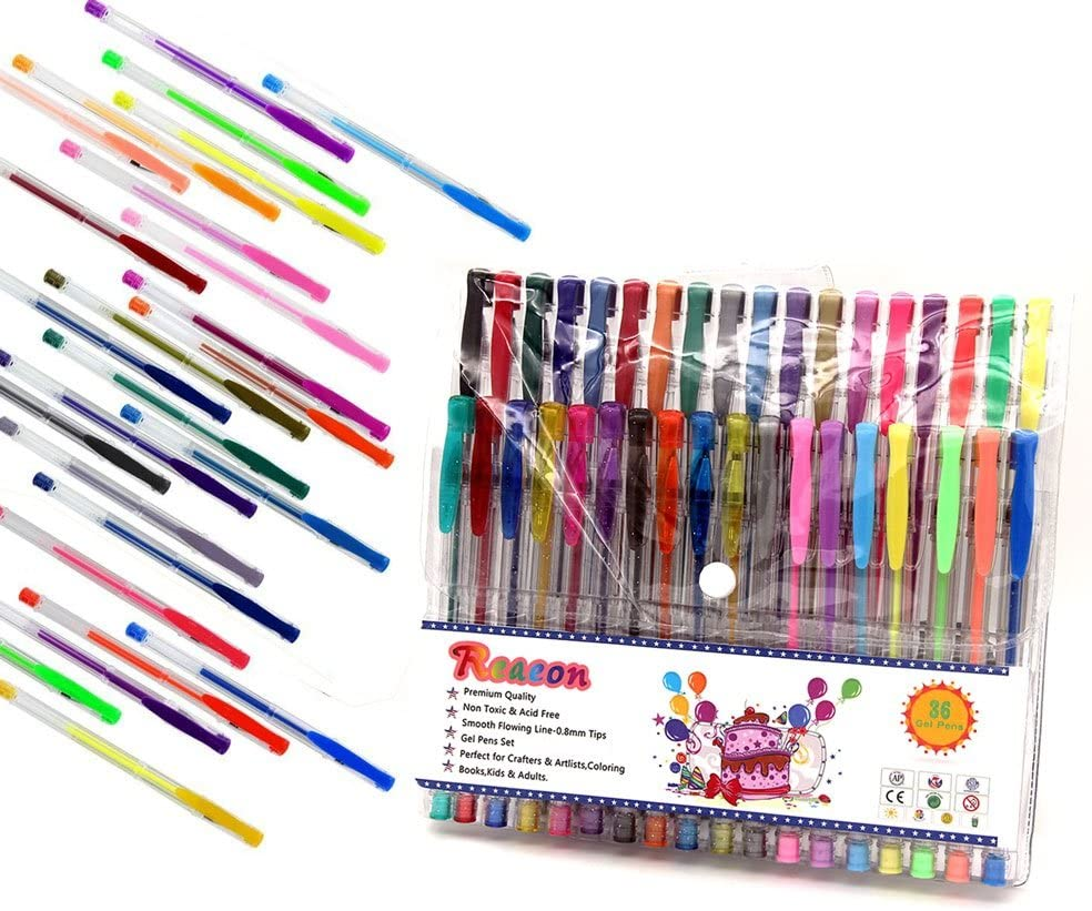 Reaeon Gel Pens for Adult Coloring Book 200 Colors Gel Pen Colored Markers Set for Drawing Painting Writing Art /& School Supplies