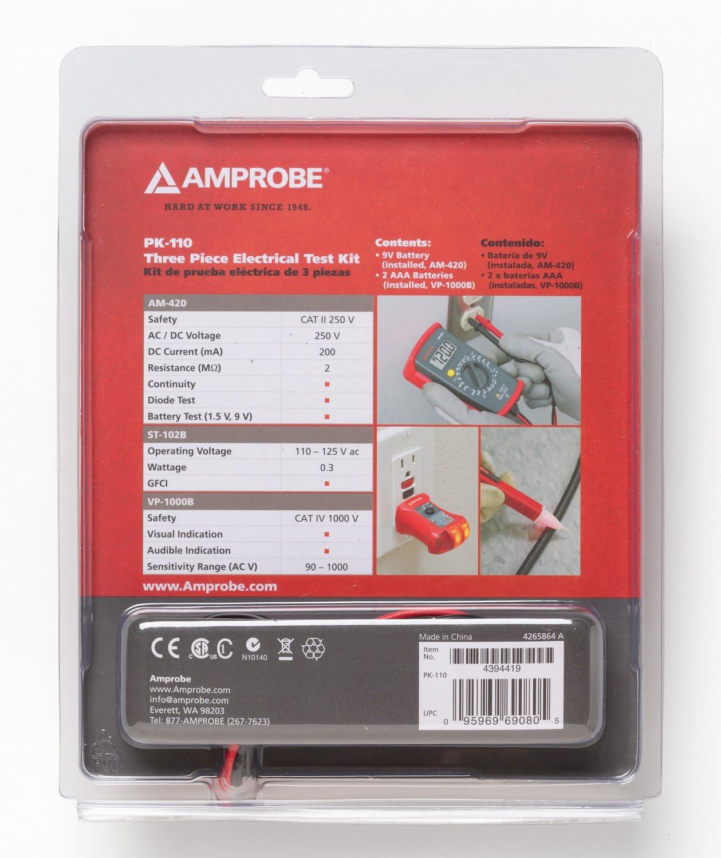 Includes AM-420 VP-1000 ST-102B AMPROBE PK-110 3 Piece Electrical Test Kit