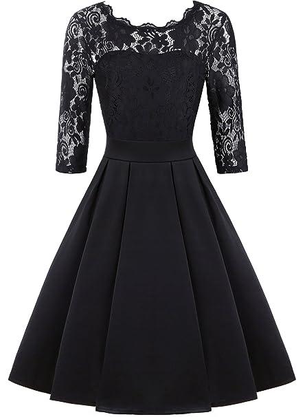 Amazon.com: IHOT vestido de cóctel de noche con mangas 2/3 ...