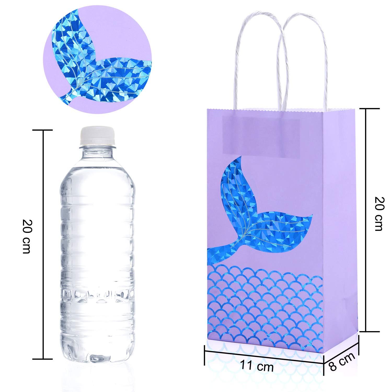 12 Packs Mermaid Paper Bags Mermaid Party Gift Bags Mini Goodie Bag Glitter Treat Bags for Kids Mermaid Themed Party Supplies Blue