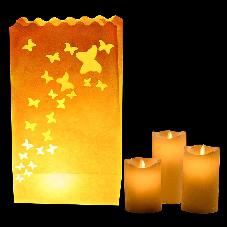 Linternas Grandes Decoraci/ón Centro de Mesa para Bodas y Cumplea/ños- Resistente al Fuego Pack de 20 Linternas Decorativas de Papel Blanco Dise/ño Mariposa por Kurtzy Usar con Velas de T/é o LED