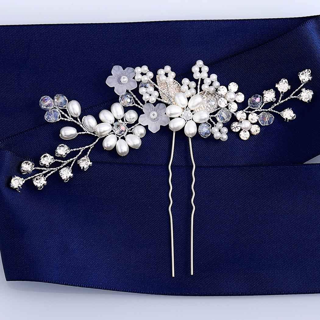 Drecode Bridal Wedding Hair Pins Flower Silver Sparky Crystal Leaf Hairpin Bride Pearl Hair Accessories for Women and Girls(Pack of 2) (Silver)