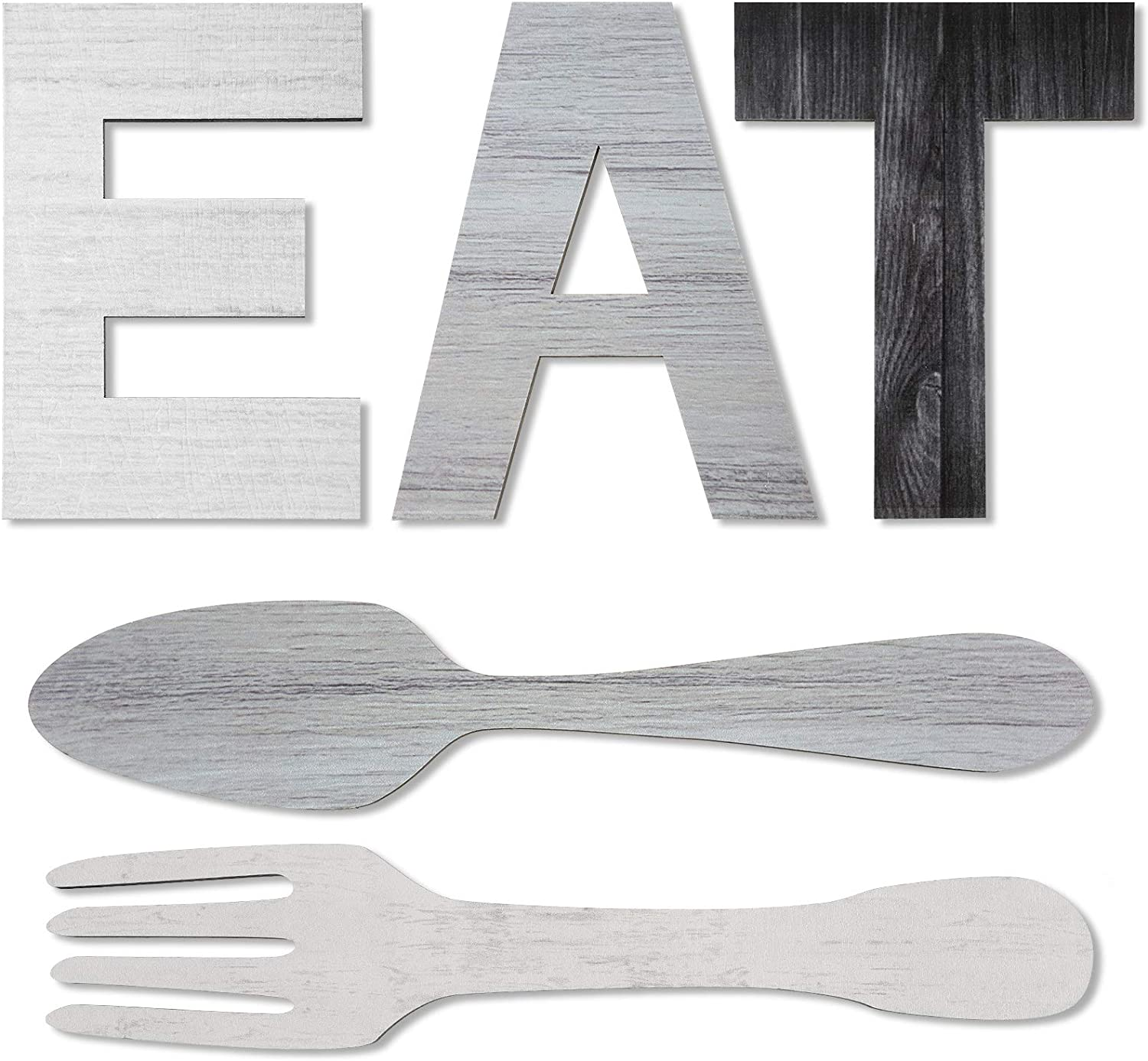 Set of EAT Sign, Fork and Spoon Wall Decor, Rustic Wood Eat Decoration, Cute Eat Letters for Kitchen and Home, Decorative Hanging Wooden Letters, Country Wall Art, Dining Room (Chic Color)