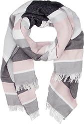 SIX Modischer Schal: Damenschal für jede Jahreszeit, Blockstreifen-Design, Fransen, weicher Stoff, angenehmes Tragegefühl, grau/rosa/weiss (384-823)