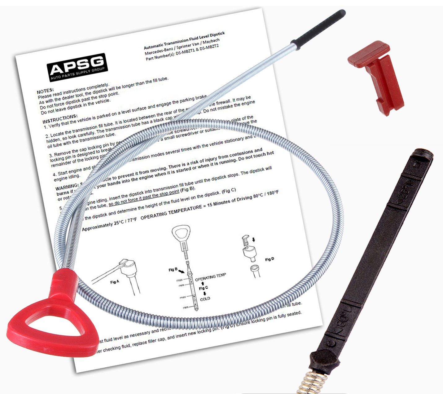 TRANSMISSION DIPSTICK TOOL w/INSTRUCTIONS & FREE LOCKING PIN -For: Mercedes Benz, Mayback, Sprinter to check ATF Fluid Level Automatic Trans oil Auto