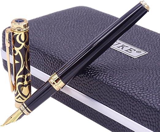 Duke D2 Green Fountain Pen Double-Nibs Iridium Medium and Fude Calligraphy Nib Interchangeable Writing Gift Box Set for Office//Business//Art//Painting