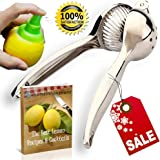 Lemon Squeezer Press & Juicer – Heavy Duty Manual Metal Lemon Lime Press For Juicing Citrus Fruit - Large Bowl, Easy to Squeeze & Includes Sprayer Mister & Best Recipes & Cocktails E-book