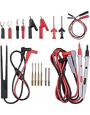 Kit de Cables de Prueba 21 en 1 Sondas de Prueba para Tester Multímetro Digital con Pinzas de Cocodrilo, 8 Puntas, Mini Clips de Resorte, Pinzas de Prueba SMD para Probador de Circuito Voltaje