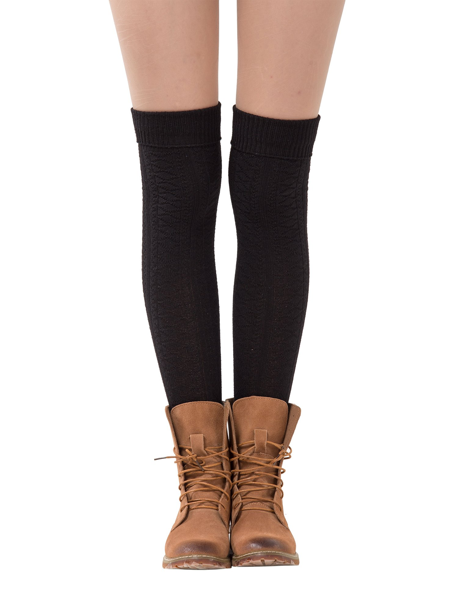 Dimore Womens Knit Cotton Thigh Thick High Socks Over The Knee Long Socks Boot Cuff Socks Gift Black