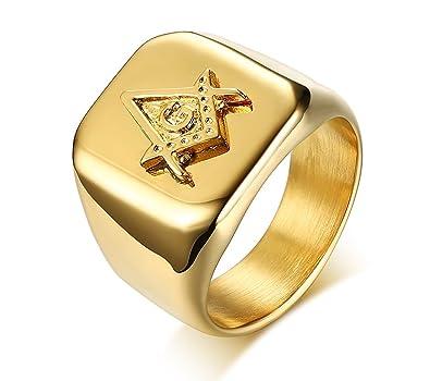 ac92c473dd427 Rinspyre Men's 18K Gold Plated Stainless Steel Freemason Masonic ...