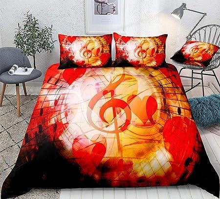 Copripiumino Musica.Zpangg Set Copripiumino Musica Note Musicali Set Letto Cuori