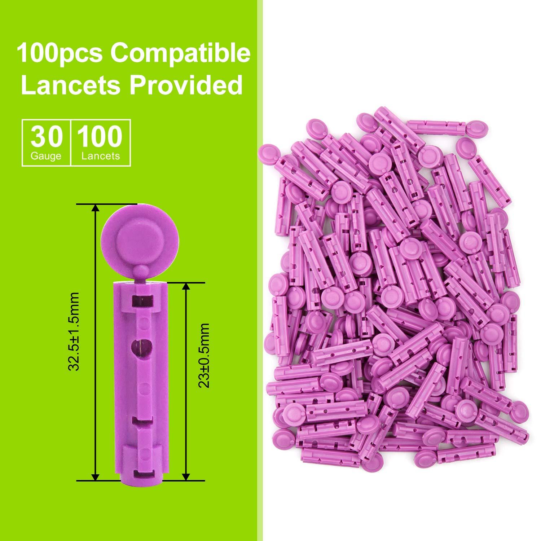 AUVON Lancing Device with Less Pain Design Blood Sample Pen and Twist Top 100pcs 30 Gauge Lancets