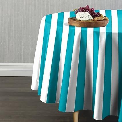 Turquoise U0026 White Cabana Stripe Tablecloth 84u0026quot; ...