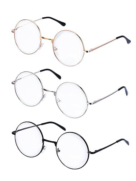 f0430cb7a4 Montature Occhiali da Vista in Metallo Tondo Occhiali Retrò Metallo Lente  Trasparente, Unisex, Colore Nero, Oro, Argento, 3 Paia