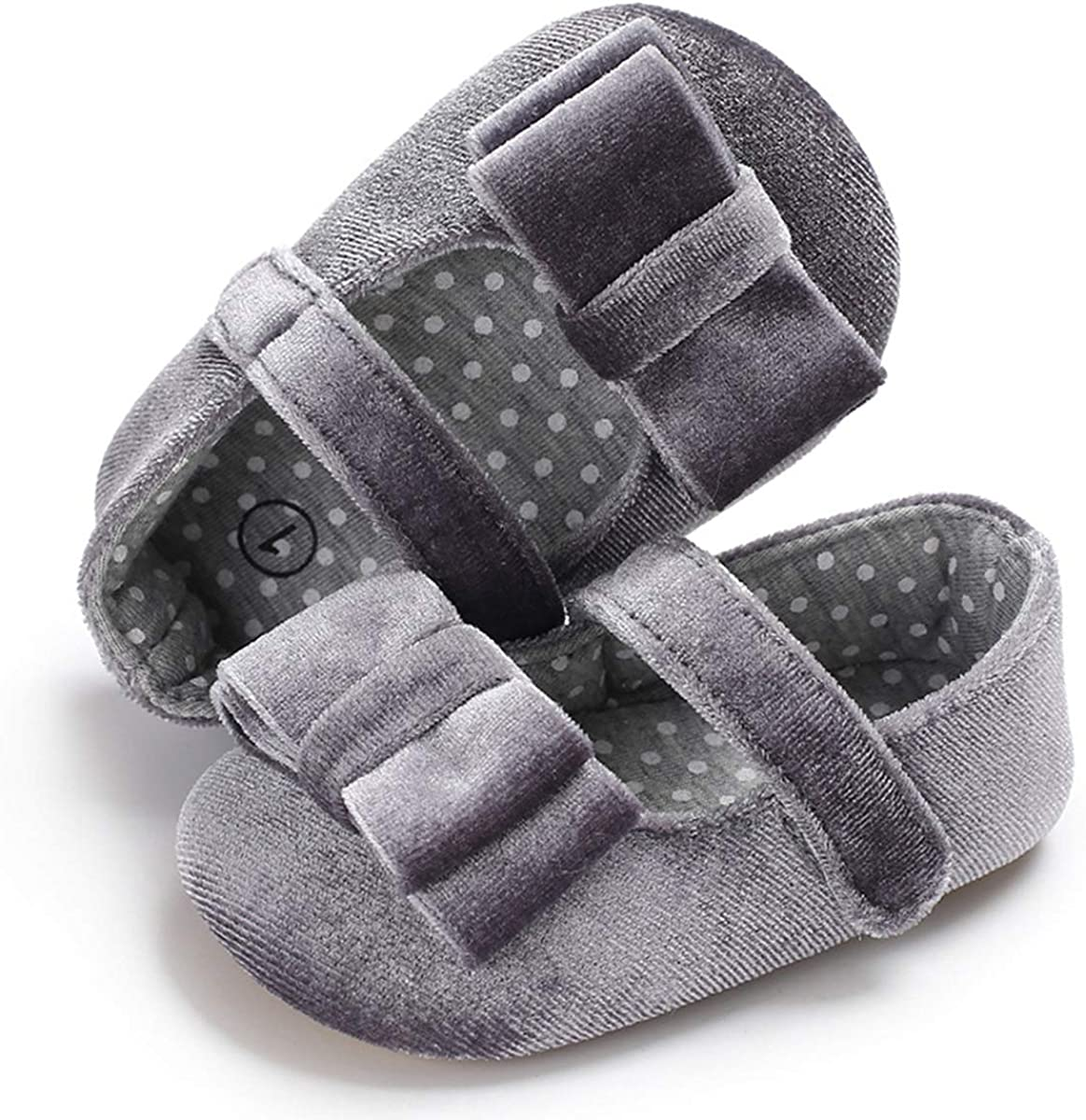 Baby Girl Mary Jane Flats Princess Shoes with Bowknot,Non-Slip Rubber Sole Prewalker Shoes for Infant Toddler