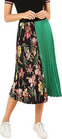 Amazon Com Shein Falda Plisada De Verano Con Estampado Floral Y Estampado De Bloques De Colores Clothing