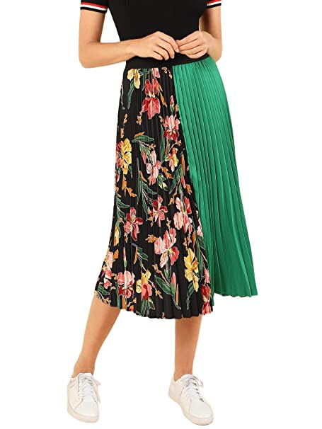 5054fb09fe SheIn Women's Summer Color Block Floral Midi A-Line Pleated Skirt X-Small  Green