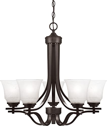 Westinghouse Lighting 6622100 Wensley Five-Light Indoor, Oil Rubbed Bronze Finish with White Alabaster Glass Chandelier