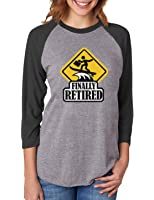 Finally Retired - Funny Retirement Gift 3 4 Women Sleeve Baseball Jersey  Shirt 7f4dd8104