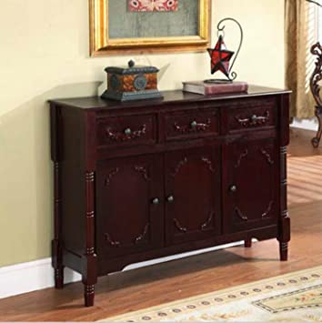 Wood Console Table with Storage - This Accent Furniture Has 2 Cabinets and  3 Drawers w/ Adjustable Shelves - Perfect Decor That Can Be Placed in Your  ...