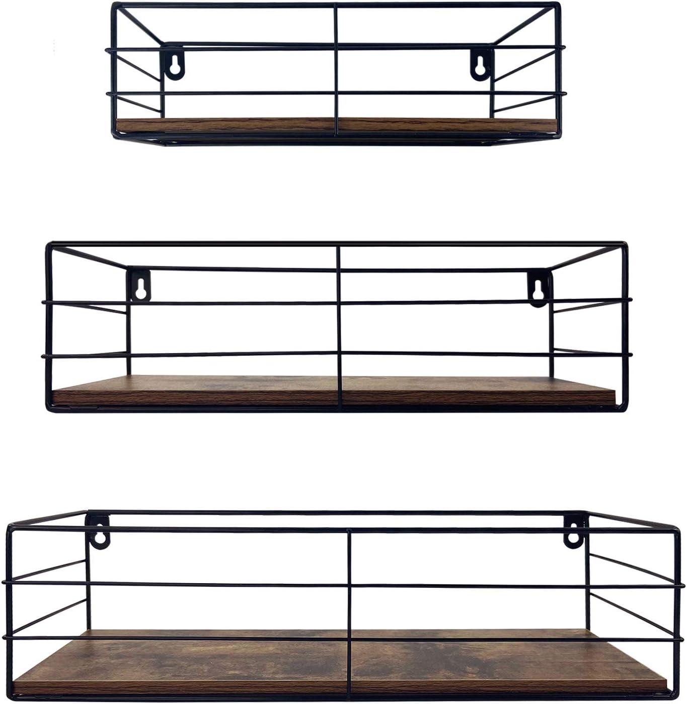 CRUGLA Floating Shelves Wall Mounted Set of 3, Hanging Storage Shelf for Bathroom, Living Room, Bedroom, Office