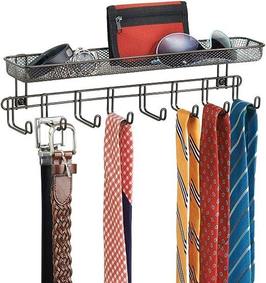 mDesign Juego de 2 perchas para pañuelos con estantes para pared ...