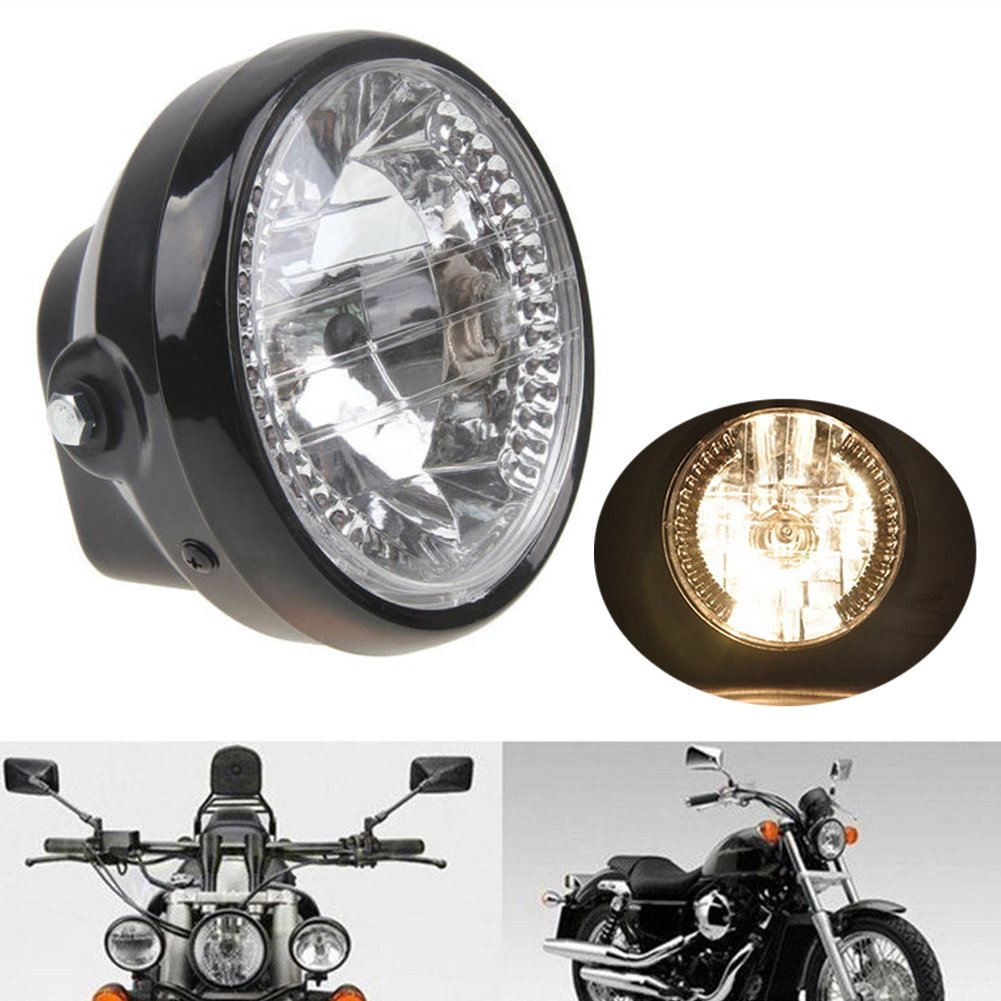 Black Universal Motorbike Headlight with Built In LED Indicators and Fork Brackets diameter 7 inch 12V 35W