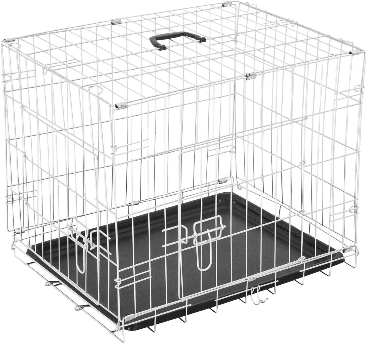 Pawhut Homcom - Jaula de Viaje Plegable Mascota Perro Gato Mascotas 91 x 61 x 67 cm de Alambre