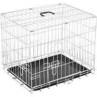 Homcom - Jaula de viaje plegable mascota perro gato mascotas 91 x 61 x 67 cm de alambre