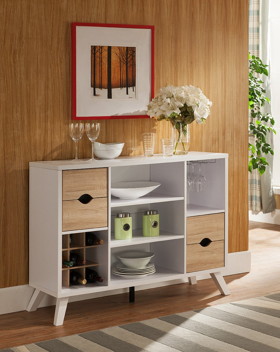 Vinum Album Scrinium Buffet Cabinet Sideboard (Weathered White Color) - 1 x Vinum Album Scrinium buffet cabinet sideboard Wine rack, wine glass rack, three shelves, & four drawers Material: Wood, MDF Chipset, Laminate - sideboards-buffets, kitchen-dining-room-furniture, kitchen-dining-room - 71CF%2Bykz4fL -
