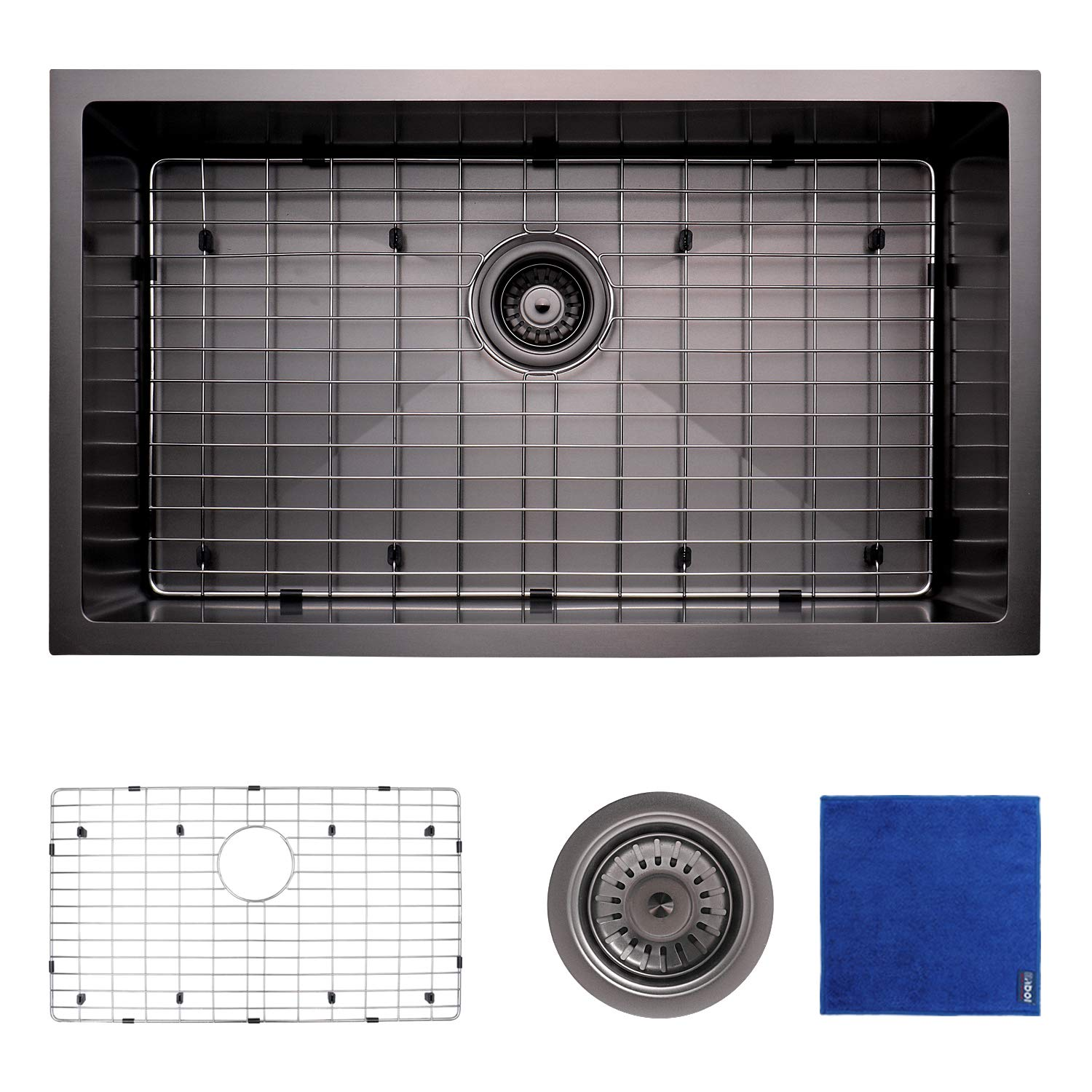 Enbol SDC-3018-B, 30 Inch Extremely Durable Black Color Nano Titanium Plating Fully Coating Undermount Single Bowl Stainless Steel Kitchen Sink, R 10 Easy Clean, With Bottom Grid and Strainer