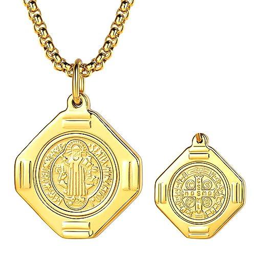 FaithHeart Medalla Milagrosa de San Benito de Nursia Collar Colgante de Acero Inoxidable Joyería Religiosa para Hombre y Mujer