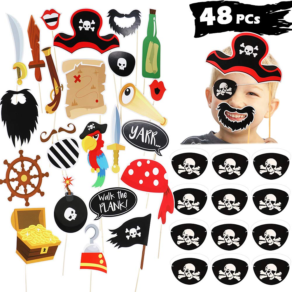 JDYW Pirata Patch per Gli Occhi e Puntelli di Photo Booth Bambini Pirata Accessori per Feste Vestire