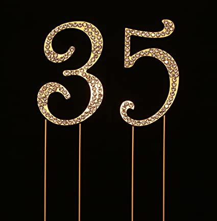 Amazon Numbrer 35 For 35th Birthday Or Anniversary Cake Topper