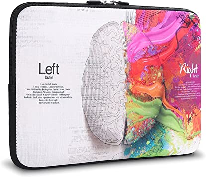 Left and Right Brain iCasso 13-inch Laptop Sleeve Bag Stylish Soft Neoprene Case Cover for MacBook Air//MacBook Pro//Surface Pro 4/&3 //Lenovo Yoga//HP//Chromebook